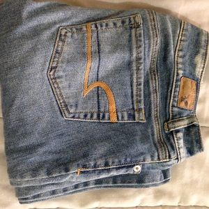 Distressed American Eagle artist jeans.